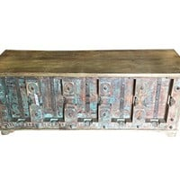 Vintage Trunk Blue Distressed Natural Wood Bench Table Chest Old Pitara Rustic Bohemian Interior