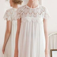 SIMPLE - Woman Fashionable Chiffon Laced One Piece Dress a10556