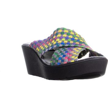 STEVEN Steve Madden Baylee Slip-On Wedge Sandals, Bright Multi, 9 US