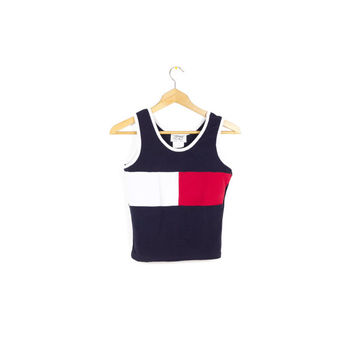90s Tommy style sports top / vintage 1990s / athletic tank / sporty / red white & blue / womens small - medium