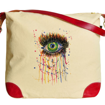 Ebstract Watercolor Eye Printed Canvas Leather Trap Tote Shoulder Bag WAS_33