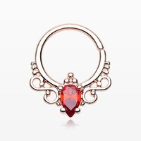 Rose Gold Ruby Princess Filigree Sparkle Septum Twist Loop Ring
