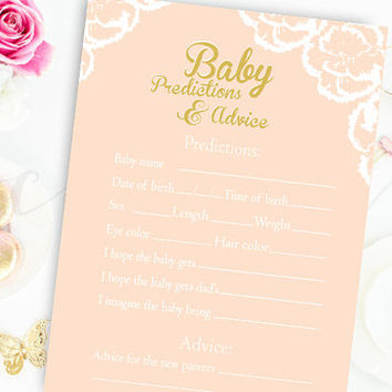Baby Predictions and Advice Game Pink and Gold Baby Shower Printable Instant Download Digital Girl Baby Shower Games