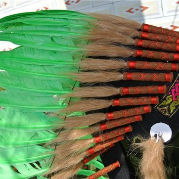 Lime green 28inch Chief Indian feather Headdress Native American costume hand made War Bonnet  indian headdress feather costumes
