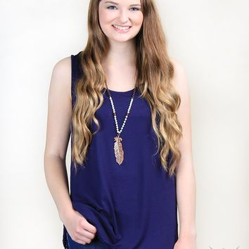 Solid Tank With Lace Trim in Navy