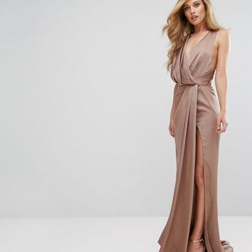 Fame and Partners Wrap Maxi Gown with Fishtail at asos.com