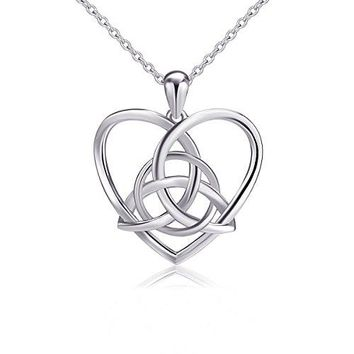 SHIP BY USPS: 925 Sterling Silver Good Luck Irish Celtic Knot Triangle Vintage Love Heart Pendant Necklace, 18 inches