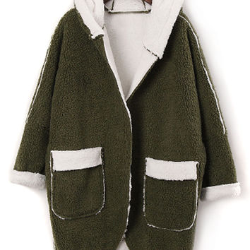 Green Shearling Lining Long Sleeve Hooded Coat