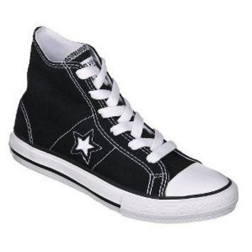 Kid's Converse One Star Hi-Top Canvas Lace up Shoe - Black