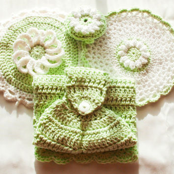 Mint Crochet Kitchen Set - 100% Cotton - Hanging Dish Towel - Lace Washcloth - Daisy Potholder - Daisy Dish Scrubbie