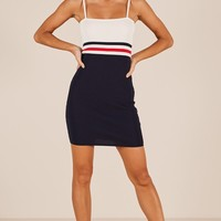 Ignition dress in navy stripe Produced By SHOWPO