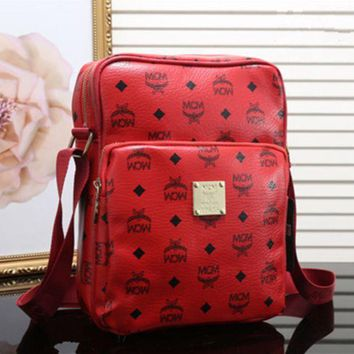 MCM Fashion Women Men Briefcase Logo Letter Print Zipper Single Shoulder Messenger Bag Red I