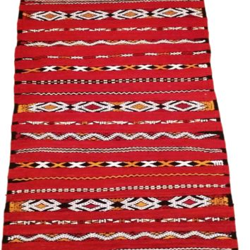Moroccan Flat Weave Kilim Rug - Hand Woven Zemmour in Red Wool - 40.5 x 23.5 inches