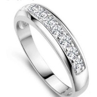 Wedding Band- Zircon 925 Sterling Silver with Simulated Diamond Rings for Women/Men