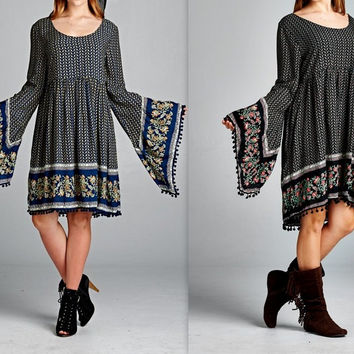 Eliza Bella Boho Big Bell Sleeve Hippie Hottie Ball Fringe Dress Plus Size