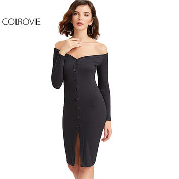 COLROVIE Black Sexy Bodycon Dress Women Off Shoulder Front Button Up Casual Club Dresses 2017 New Slim Brief Long Sleeve Dress