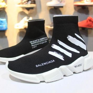OFF WHITE x Balenciaga Speed Stretch Knit Mid Sneakers Scapra Dlast.s.Go MMA Black Socks Shoes