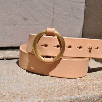 The Redford - Mens Veg Tan O-Ring Leather Belt