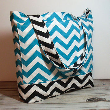 Teal Black Tote Bag - Turquoise Tote Bag - Reversible Tote Bag - Beach Bag - Large Beach Tote - Canvas Beach Tote - Bridesmaid Totes - Tote