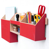 Wood Wall Hanging Red Organizer, Wall Office Paper organizer, Modern pen holder, Office Mail Storage set, Hanging wooden home organizer