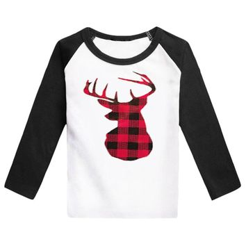 Red Plaid Deer Shirt Buffalo Black Raglan