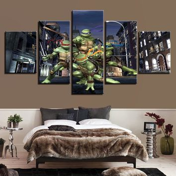 Modern Canvas Home Decor Wall Art Frame Posters 5 Panel Teenage Mutant Ninja Turtles Living Room Pictures HD Printed Painting