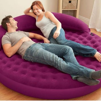 Inflatable Flocking Sofa Bed Living Room Sofa Round Air Mattress With Backrest