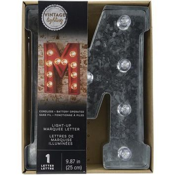 Darice Metal Marquee Letter M - Galvanized Silver 9.875 Inches