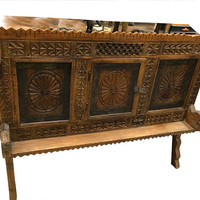 "Vintage Indian cabinet Vastu Chakra Carved Chest Antique Console Sideboard Teak warm patina rustic "" Manjoosh"""