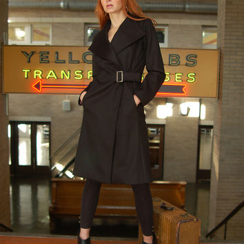 Black cashmere and wool coat, women's coat, tailored fit wrap coat, sizes 4 or 6 US
