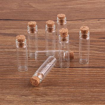 Size 11*35*6.5mm 2ml Mini Glass Wishing Bottles Tiny Jars Vials With Cork Stopper 100pcs