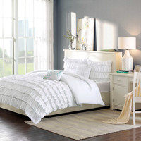 Intelligent Design Waterfall Reversible Comforter Set in White