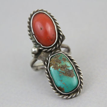 Vintage 60s STERLING RING / Huge Turquoise & Coral Chunky Navajo