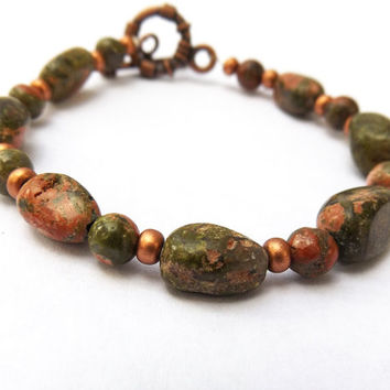 Unakite Bracelet, Beaded Gemstone Bracelet, Pink and Green Bracelet