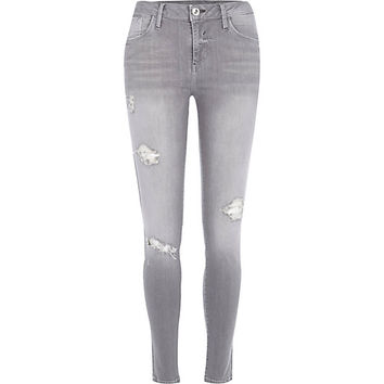 River Island Womens Grey wash ripped Amelie superskinny jeans