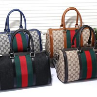 """Gucci"" Classic Fashion Multicolor Canvas Boston Pillow Handbag Women Large Single Shoulder Messenger Bag"