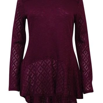 Style & Co Women's High Low Lace Trim Swing Blouse