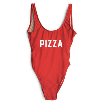 Pizza Red High Cut One Piece Bathing Suit