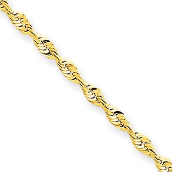 2mm, 10k Yellow Gold Lightweight D/C Rope Chain Bracelet, 7 Inch
