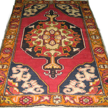 ON SALE Vintage Turkish Oushak Rug With Medallion 93 x 55 inches Free Shipping