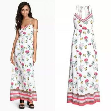 Stylish Spaghetti Strap Print Cotton Slim Women's Fashion Prom Dress One Piece Dress [4919028228]