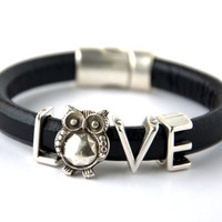 SALE % 30 off!-Large Belly Owl Love Spacer Regaliz Black Greek Leather Bracelet