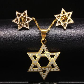 Star of David Gold Plated Jewelry Set Necklace & Earrings
