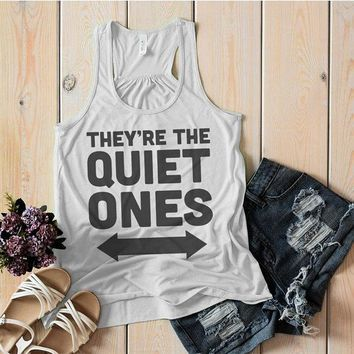 Women's They're The Quiet Ones Best Friend 3 Cotton Tank Top Flowy Tanks Racerback