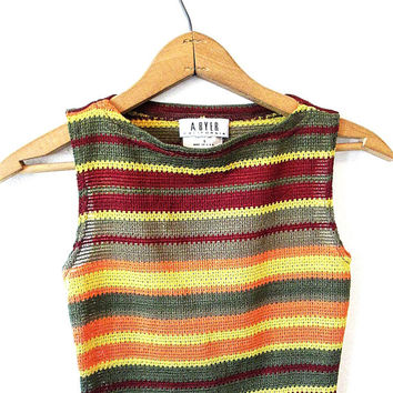 Wms Vintage 1990s A Byer California Striped Knit High Neck Tank Top Sz S