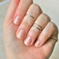 Silver Midi Rings(Set of 2) - Silver