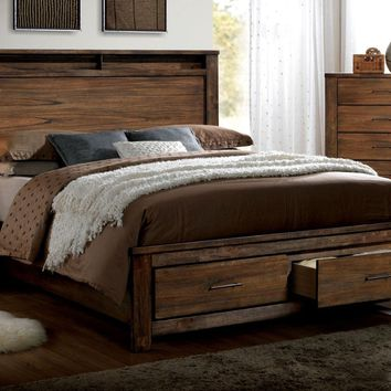 Widel Transitional Queen Platform Bed in Oak