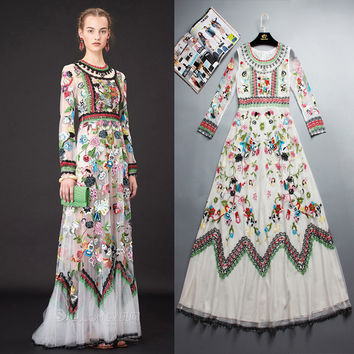 Luxuriant White Gauze Heavy Embroidery Lace Embroidered Long-sleeved Dress Brand In Europe And America In 2016 Runway Fashion