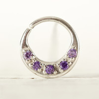 Septum Ring Nose Ring Septum Jewelry Body Violet Strass Piercing  Sterling Silver Indian Style 14g 16g - SE027R SS ST02