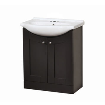 Shop Style Selections Euro Vanity Espresso Belly Bowl Single Sink Bathroom Vanity with Vitreous China Top (Common: 30-in x 17-in; Actual: 30-in x 19-in) at Lowe's